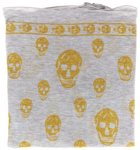 ALEXANDER MCQUEEN Heather Gray Yellow Modal Jersey Skull Graphic Square Scarf