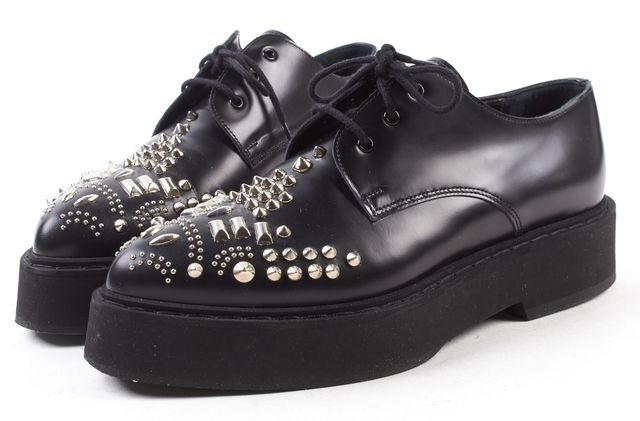 ALEXANDER MCQUEEN Black Stud Embellished Leather Brogues Platform Shoes