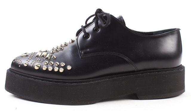 ALEXANDER MCQUEEN Black Stud Embellished Leather Brogues Platform Shoes