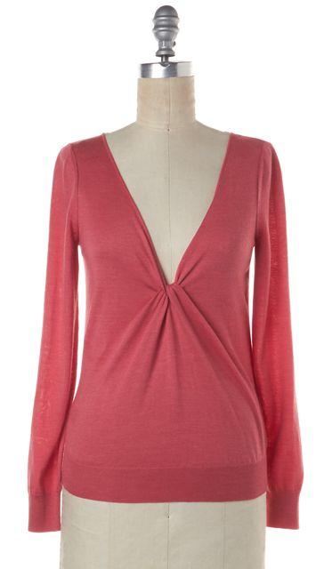 ALEXANDER MCQUEEN Pink Cashmere Twist Front Knit Top