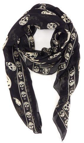 ALEXANDER MCQUEEN Black Ivory Skull Graphic Silk Scarf