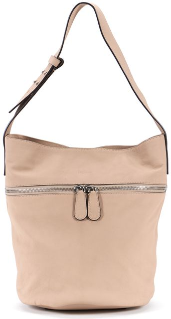 ALEXANDER MCQUEEN Nude Leather Zipper Detail Bucket Shoulder Bag