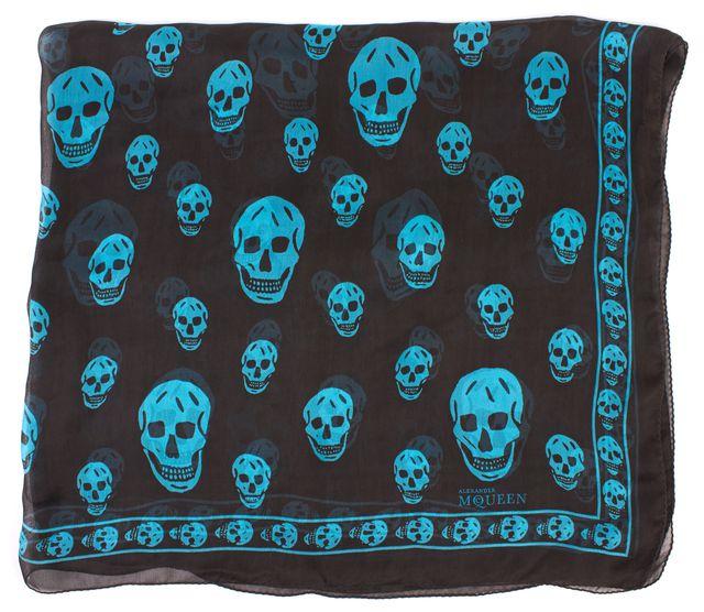 ALEXANDER MCQUEEN Black Blue Skull Graphic Sheer Silk Scarf