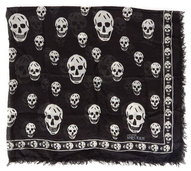 ALEXANDER MCQUEEN Black White Skull Printed Square Semi Sheer Lightweight Scarf