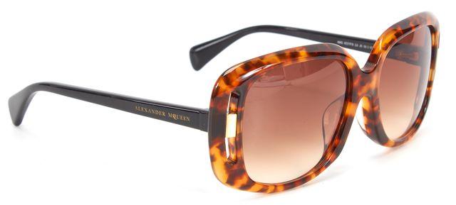 ALEXANDER MCQUEEN Brown Tortoise Gradient Lens Square Sunglasses