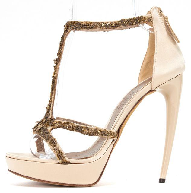 ALEXANDER MCQUEEN Beige Satin Sequin Embellished Sandal Heels