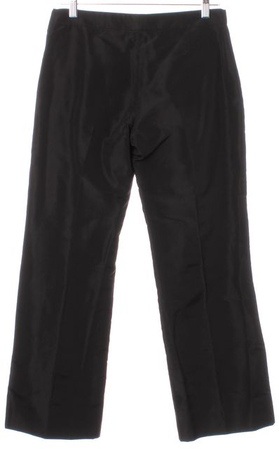 ALEXANDER MCQUEEN Black Silk Wide Leg Casual Cropped Trousers Pants
