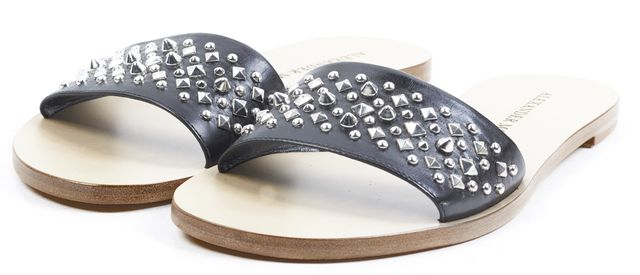 ALEXANDER MCQUEEN Black Studded Leather Slip On Sandals
