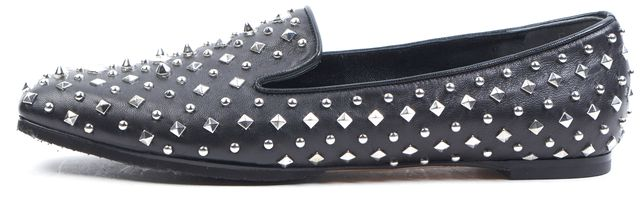 ALEXANDER MCQUEEN Black Silver Studded Leather Loafers