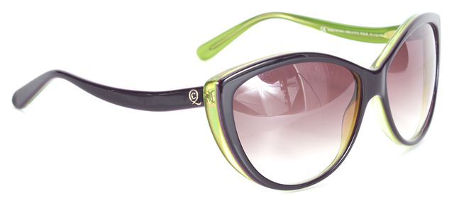 ALEXANDER MCQUEEN Purple Lime Green Gradient Lens Cat Eye Sunglasses w/ Case