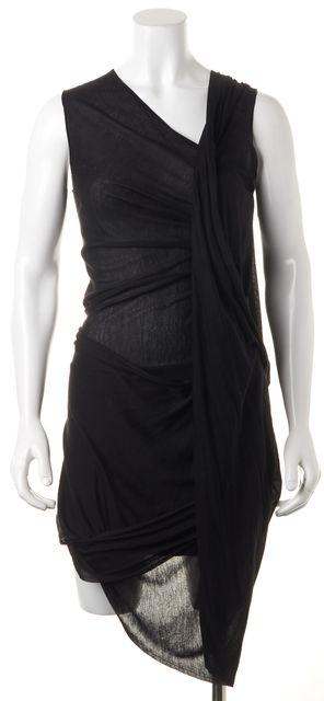 ALEXANDER MCQUEEN Black Draped Sleeveless Sheath Dress