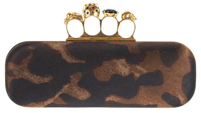 ALEXANDER MCQUEEN Brown Gold Leopard Embellished Knuckle Box Clutch