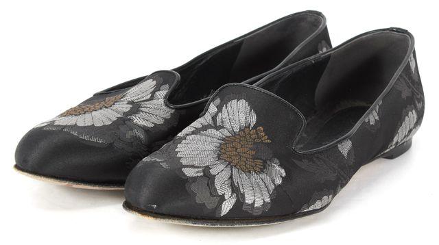 ALEXANDER MCQUEEN Black Floral Hibiscus Jacquard Flats Size EU 40 US 10