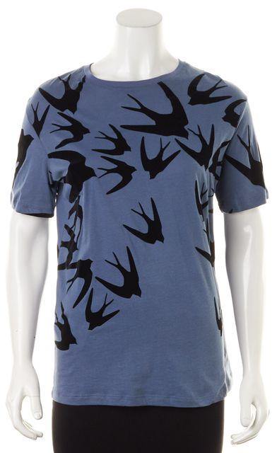 ALEXANDER MCQUEEN Blue Black Velvet Bird Graphic Cotton T-Shirt