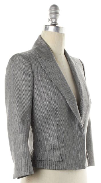 ALEXANDER MCQUEEN Gray Abstract Wool Cropped Blazer