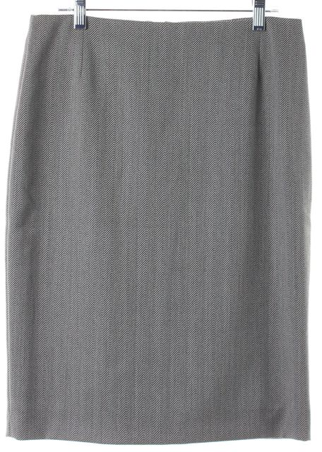 ALEXANDER MCQUEEN Gray Abstract Wool Pencil Skirt