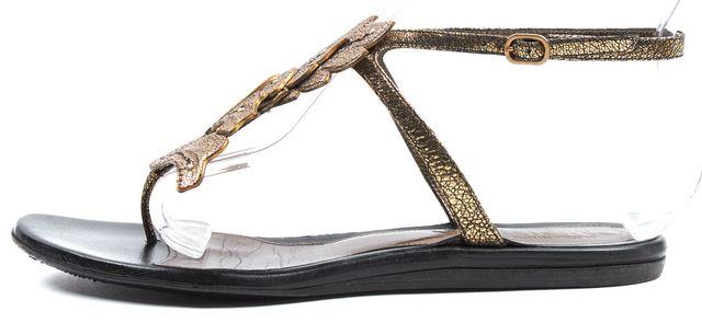 ALEXANDER MCQUEEN Antique Metallic Gold Leather T-Strap Flat Sandals