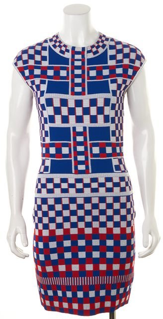 ALEXANDER MCQUEEN Blue Red White Geometric Stretch Knit Bodycon Dress