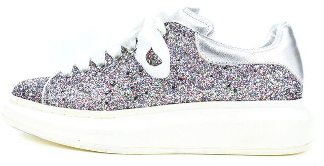 ALEXANDER MCQUEEN Purple Glitter Oversized Platform Sneakers
