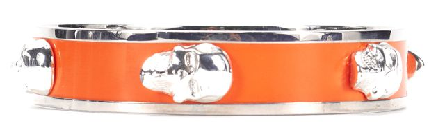 ALEXANDER MCQUEEN Orange Silver Brass 3D Skull Bangle Bracelet