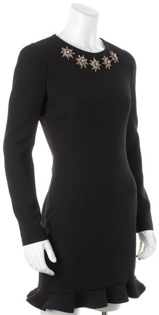 ALEXANDER MCQUEEN Black Jewel Embellished Wool Flutter Sheath Dress