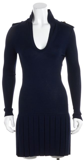 ALEXANDER MCQUEEN Navy Wool Military Pleated Hem V-Neck Sweater Dress