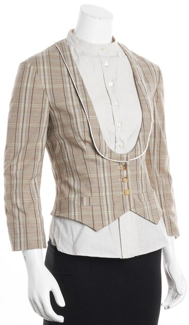 ALEXANDER MCQUEEN Beige Multi Plaid Wool Jacket Layered Button Down Top
