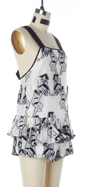 ALICE MCCALL White Black Graphic Embroidered Ruffled Tiered Romper