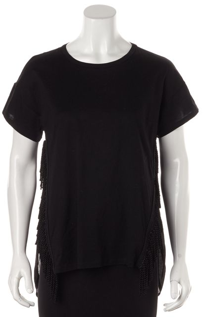 ALICE MCCALL Black Cotton Fringe Detail Short Sleeve Tunic Top