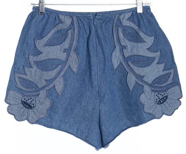 ALICE MCCALL Blue Floral Applique Tonka Bean Denim Mini, Short Shorts