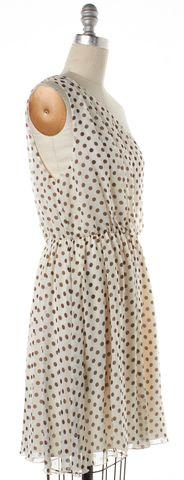 ALICE + OLIVIA Brown White Polka Dot Silk Sheath Dress