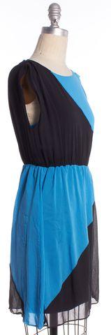 ALICE + OLIVIA Blue Black Colorblock Silk Fit Flare Dress