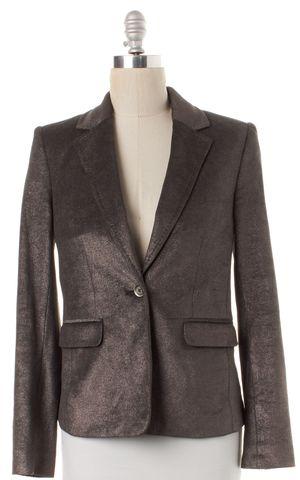 ALICE + OLIVIA Silver Stretch Cotton Blazer Jacket