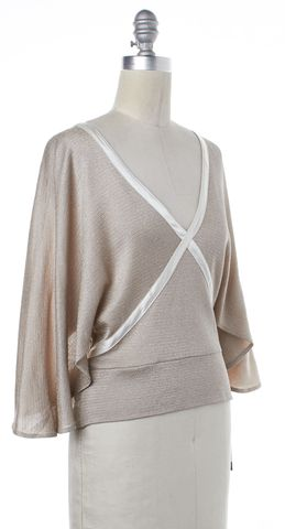 ALICE + OLIVIA Pink Beige Tie Ribbon Blouse Top Size S