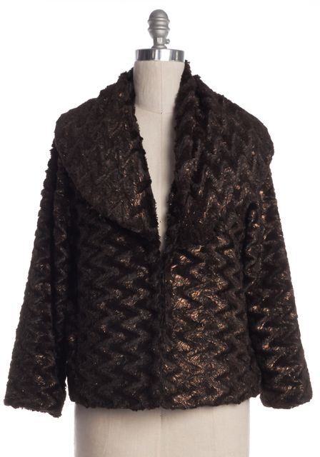 ALICE + OLIVIA Brown Bronze Faux Fur Jacket
