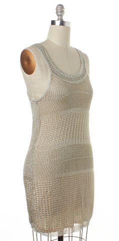 ALICE + OLIVIA Silver Metallic Knit Ivory Sheath Dress Size S