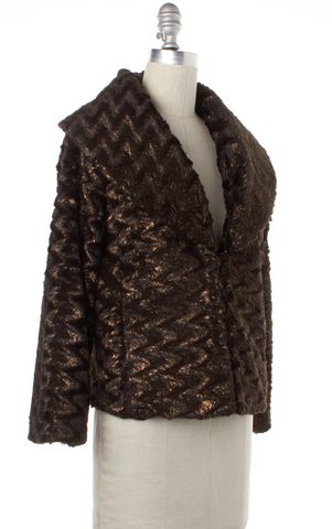 ALICE + OLIVIA Metallic Brown Faux Fur Jacket Size XS