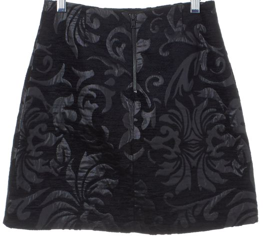 ALICE + OLIVIA Black Velvet Metallic Floral Brocade Pencil Skirt