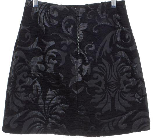 ALICE + OLIVIA Black Velvet Metallic Floral Brocade Pencil Skirt Size 2