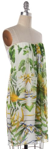 ALICE + OLIVIA White Floral Print Shift Dress