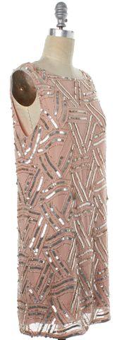 ALICE + OLIVIA Pink Silver Sequin Embellished Silk Shift Dress