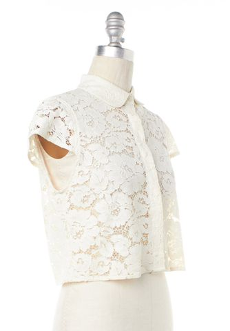 ALICE + OLIVIA Ivory Lace Floral Button Down Shirt