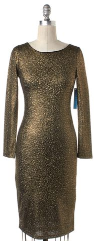 ALICE + OLIVIA NEW Gold Black Long Sleeve Textured Dress Size S
