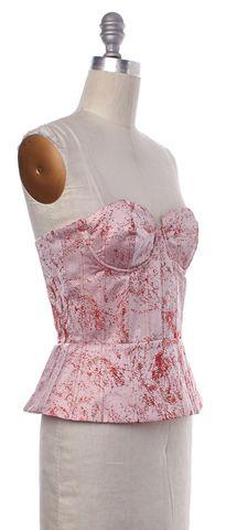 ALICE + OLIVIA Pink Red Peplum Bustier Top