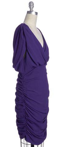 ALICE + OLIVIA Purple Rouched V Neck Bodycon Dress