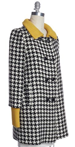 ALICE + OLIVIA Black White Houndstooth Contrast Yellow Leather Button Coat Sz S