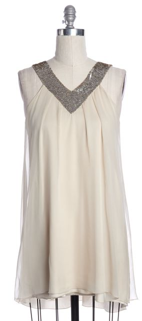 ALICE + OLIVIA Ivory Silver Sequin Embellished Silk Shirt Dress