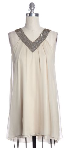 ALICE + OLIVIA Ivory Silver Sequin Embellished Silk Shirt Dress