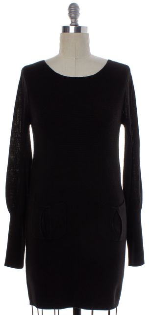 ALICE + OLIVIA Black Knit Long Sleeve Sweater Dress
