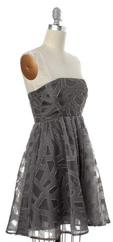 ALICE + OLIVIA Gray Geometric Wool Fit Flare Dress